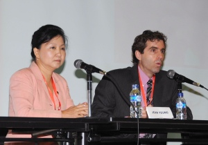 Prof Jean Yeung and Prof William Marsiglio address the conference - Photo: The DadsforLife Resource Team