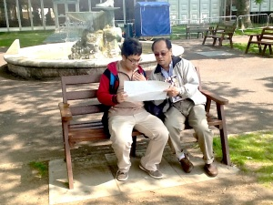 Roland assisting Jun-Yi with studying the map of the London Zoo (June 2013).