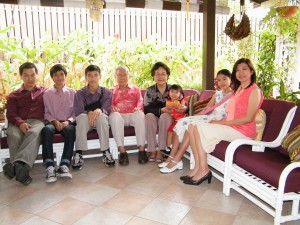 Xavier (far left) with his family