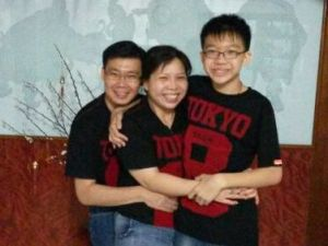 Julie with her husband Andrew Lee, both 41 and civil servants, and their son Siang Meng, 13.