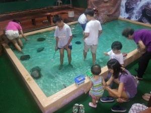 Children experience something new through Longkang fishing. Photo source: East Coast Prawning