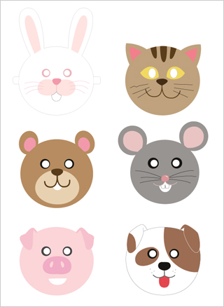 Adorable animal masks are good for a simple school play or a drama session a home. Photo source: http://www.mrprintables.com