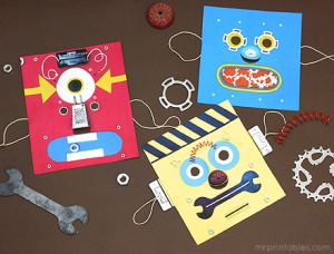 Print out Robot Masks. They make for great fun at parties. You can also use it in everyday play by pretending to be a family of robots who are living among humans. Photo source: http://www.mrprintables.com